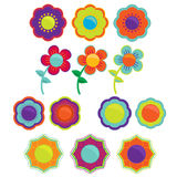 Flower Sets. Five Sets of Different Vector Flowers Royalty Free Stock Photo