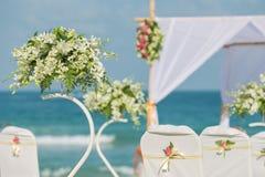 Flower setting on the beach. Wedding flower setting on the beach Stock Photography