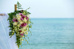 Flower setting on the beach. Wedding flower setting on the beach Royalty Free Stock Photo