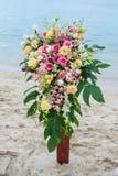 Flower setting on the beach Stock Photo