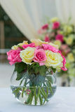 Flower setting. Wedding flower setting on the beach Stock Image