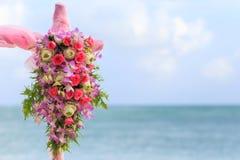 Flower setting. Wedding flower setting on the beach Royalty Free Stock Photo