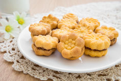 Flower shape biscuits with jam filling Royalty Free Stock Photography