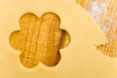 Flower shape on cookie dough Stock Photography