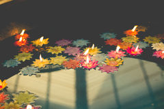 Flower-shaped candle burning in the pool of spirit at chinese te Royalty Free Stock Images