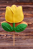 Flower shaped cookie on stick. Royalty Free Stock Images