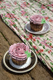 Flower shaped cupcakes Stock Photography