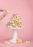 Flower shaped fairy bread on pedestal, hand holding Royalty Free Stock Photography