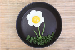 Flower shaped fried egg with greenery. Flower shaped fried egg with parsley and spring onions Stock Photography