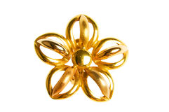 Flower shaped gold earring Stock Image