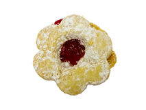 Flower shaped jam cookie Royalty Free Stock Image