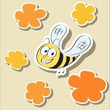 Flower-shaped Paper Tags and Cartoon Bee Stock Photography