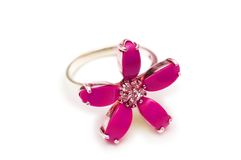 Flower shaped ring isolated. On the white background Stock Images