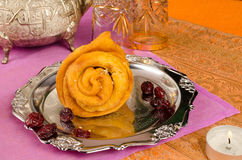 Flower shaped shebakia for dessert Stock Photo