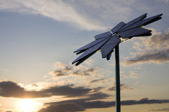 Flower shaped solar panel and sky Royalty Free Stock Photography