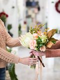 Flower shop bouquet small business women power royalty free stock image