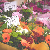 Flower Shop Bouquets on Display. Bouquets of Flowers on Display On the Street At a City Florist Stock Photo