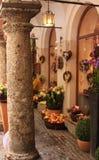 Flower shop corner in Salzburg. Austria in winter stock photo
