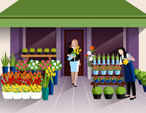 Flower shop entrance banner. Flower shop window display and customer with bunch of tulips at the entrance banner abstract vector illustration Royalty Free Stock Image