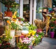Flower shop. Entrance into a small flower shop stock photos
