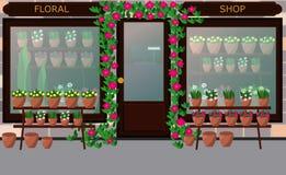Flower shop facade. Vector. Flat style. stock photos