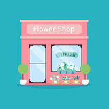 Flower shop facade. Vector illustration of flower shop building. Ideal for flower shop business web publications and graphic design Stock Images