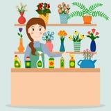 Flower shop florist or female salesperson. Flower shop florist or female salesperson with houseplants and potted flowers. EPS10 vector illustration in flat stock illustration