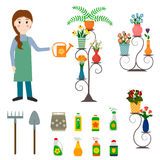 Flower shop florist and gardening icons. Stock Photography