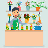 Flower shop florist or salesperson at the counter. Flower shop florist or male salesperson with houseplants and potted flowers. EPS10 vector illustration in vector illustration