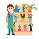 Flower shop florist or salesperson. Flower shop florist or female salesperson with houseplants and potted flowers. EPS10 vector illustration in flat style royalty free illustration