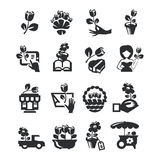 Flower shop icons. Authors illustration in vector Stock Image