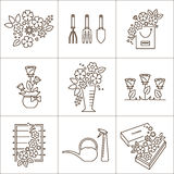 Flower shop icons Stock Photos