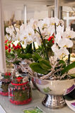Flower shop interior. Interior of a flower shop with decorations and flowers stock photo