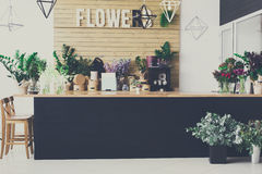Flower shop interior, small business of floral design studio royalty free stock photography
