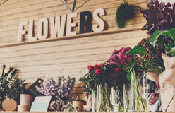 Flower shop interior, small business of floral design studio stock photography