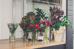 Flower shop interior, small business of floral design studio royalty free stock images