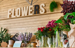 Flower shop interior, small business of floral design studio stock images
