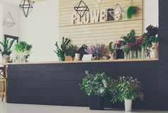 Flower shop interior, small business of floral design studio stock photos