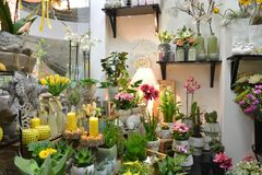 Flower shop. Interior of flower shop, spring decorations Stock Photography