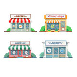 Flower shop, laundry, barber , bakery, newsstand, cafe facade in the town. Stock Photos