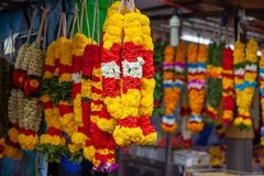 Flower shop at Little India, Singapore. Indian colorful flower garlands on street market in Singapore Stock Photography