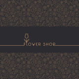 Flower shop logo and signs in trendy linear style.  Royalty Free Stock Image