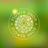 Flower shop logo and signs in trendy linear style.  Stock Photography