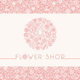 Flower shop logo and signs in trendy linear style.  Stock Photo