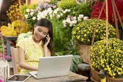 Flower shop manager stock photography