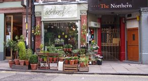 Flower Shop in the Northern Quarter, Manchester, England. Tib Street in the trendy Northern Quarter, Manchester, UK Royalty Free Stock Photography