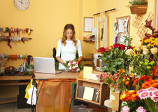 Flower shop owner businesswoman Stock Photography