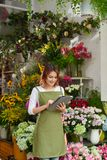 Flower shop owner stock photos