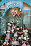 Flower shop, peonies, roses, artificial flowers Stock Photo
