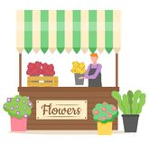 Flower Shop, Person Selling Plants in Pots Vector. Flower shop business of person vector, salesperson holding bouquet of eco pot and plant isolated store with royalty free illustration